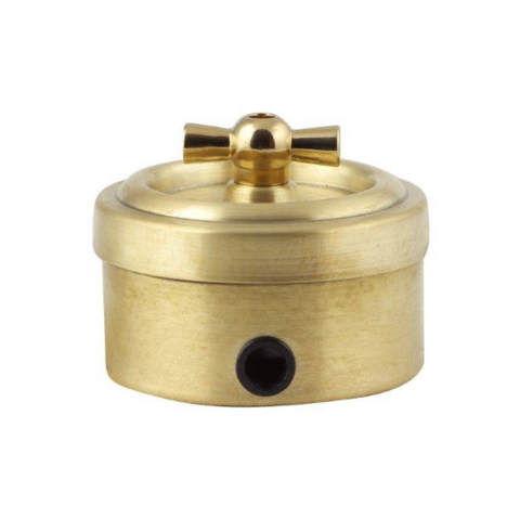 Выключатель металлический 1 клавишный/проходной (золото)