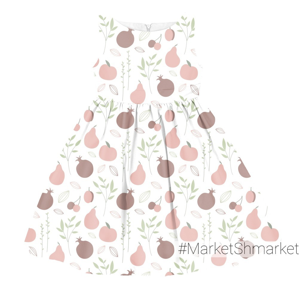 Детский фруктовый паттерн. Яблоко, гранат, груша, слива, вишня