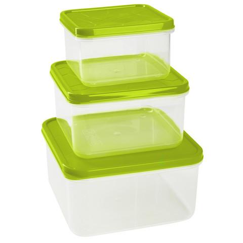 Набор контейнеров для продуктов Plastic Republic Amore квадратные пластиковые 3 штуки (артикул производителя GR1858)