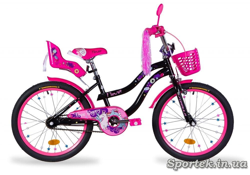Велосипед Formula Flower Premium для девочек ростом от 115 до 135 см (колеса 20 дюймов) - черный с розовым