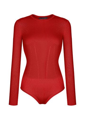 Женское боди красного цвета из шелка и кашемира - фото 1