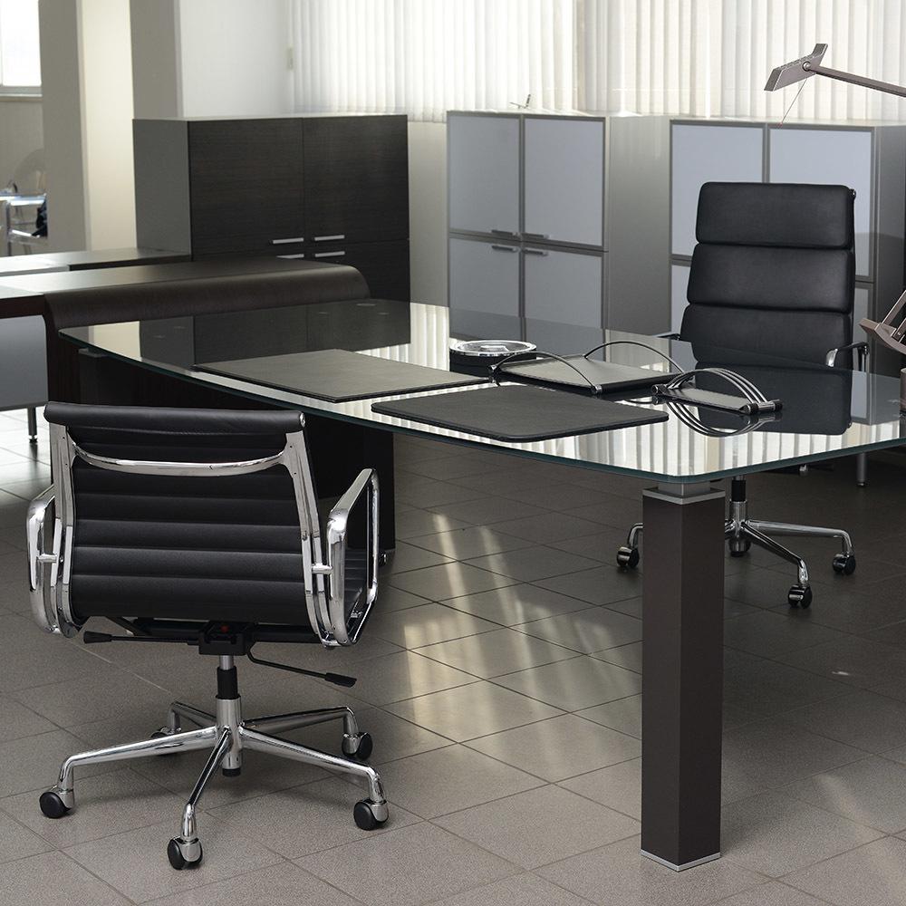 Кресло Eames Style Ribbed Office Chair EA 117 черная кожа - вид 2