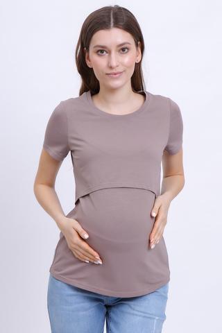 Футболка для беременных и кормящих 10590 мокко