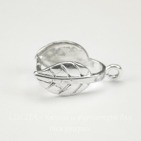 "Держатель кулона большой ""Листик"" 20х10 мм (цвет- серебро)"