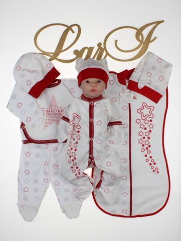 Набор для новорожденных Звёздочка - 7 пр. (крем/красный)