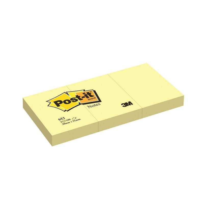 Стикеры Post-it Original 38x51 мм пастельные желтые (3 блока по 100 листов)