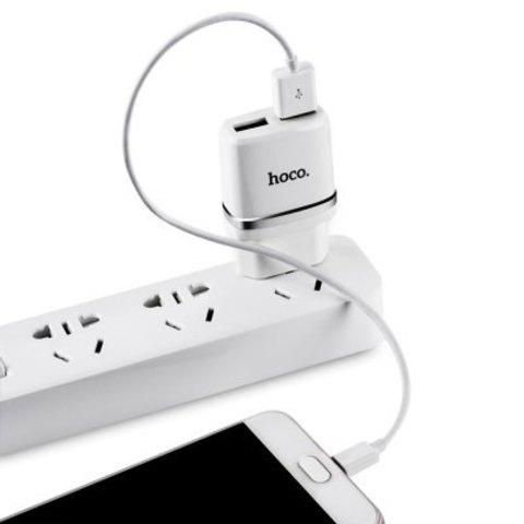 Купить зарядку Hoco C12 с кабелем Micro USB