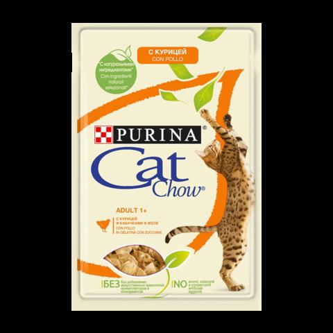 Cat Chow Консервы для взрослых кошек с Курицей и кабачком в желе (Пауч)