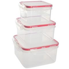 Набор контейнеров для продуктов Plastic Republic Amore квадратные пластиковые 3 штуки (артикул производителя GR1848)