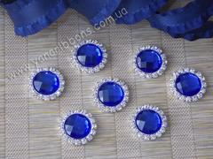 Камни круглые в стразовом обрамлении синие (опт 10шт)