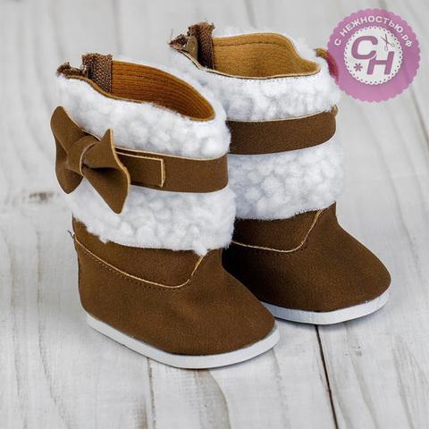 Обувь для кукол, сапоги замшевые с мехом+замок+бантик, 7 см, 1 пара.