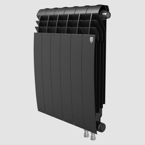Биметаллический радиатор с правым нижним подключением Royal Thermo Biliner 500 V Noir Sable (черный) - 10 секций