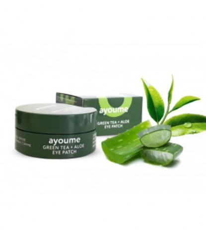 Ayoume Green Tea + Aloe Eye Patch патчи для глаз от отечности с экстрактом зеленого чая и алоэ