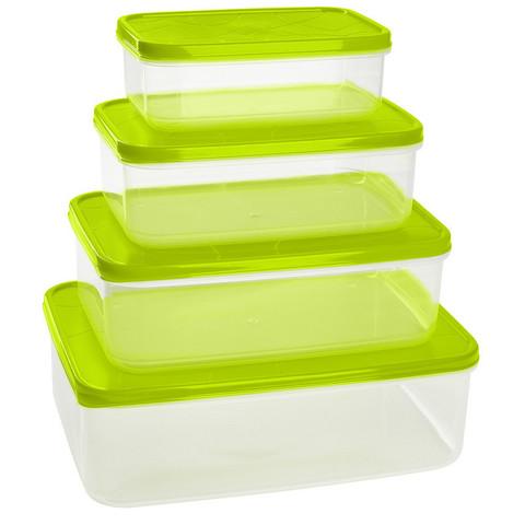 Набор контейнеров для продуктов Plastic Republic Amore прямоугольные пластиковые 4 штуки (артикул производителя GR1857)