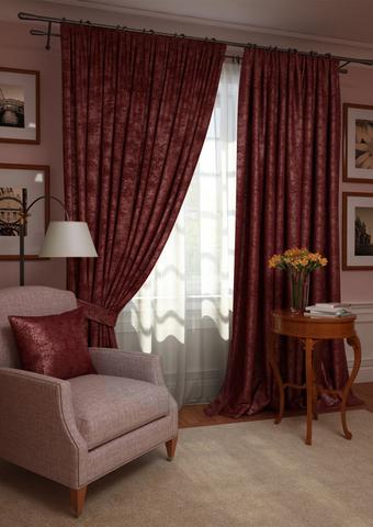 Комплект штор с подхватами и тюлем Вероника план люкс бордовый