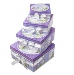 Набор коробок квадратных Прованс 4шт, 23х23х12см, белый/сиреневый