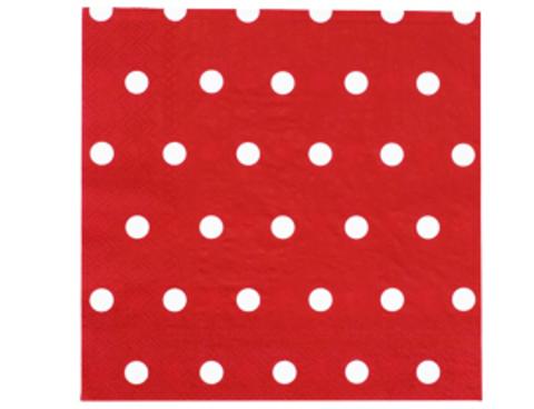 1502-3934 Салфетка Горошек красная 33см 12шт/G