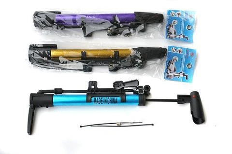 Насос ручной универсальный для накачивания мячей, вело-, мото-, автокамер. Размер: длина - 34 см; диаметр - 3 см. В комплекте: гибкий шланг, игла, крепёж к велосипедной раме.. :(MINI-330):