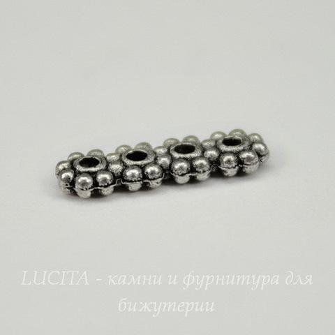 Разделитель на 4 нити 14х4 мм (цвет - античное серебро)