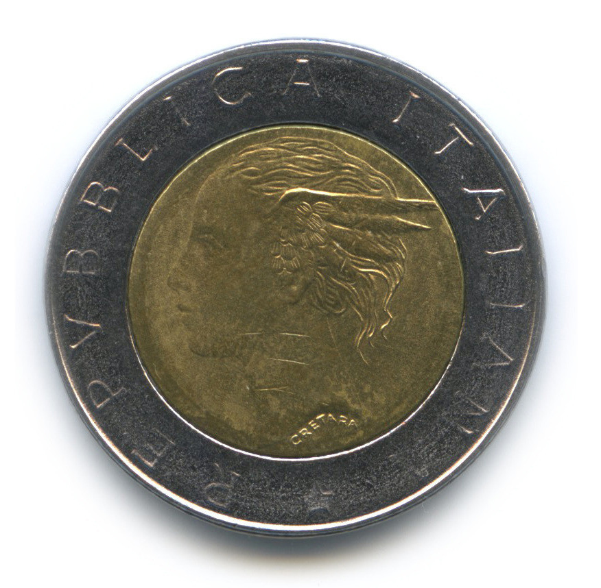 500 лир. 70 лет Национальному институту статистики. Италия. 1996 год. XF-AU
