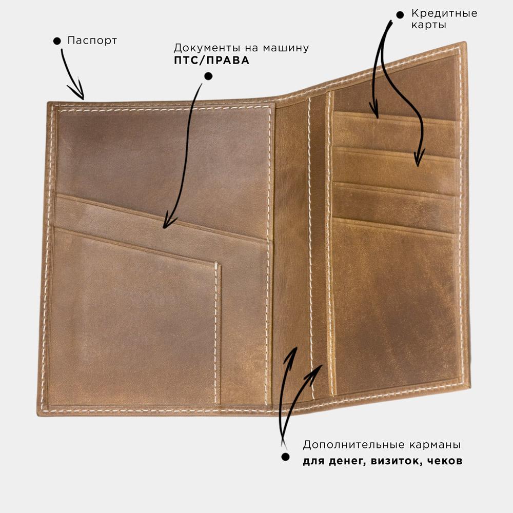 Обложка на паспорт и для автодокументов Paris Easy из натуральной кожи теленка, цвета винтаж