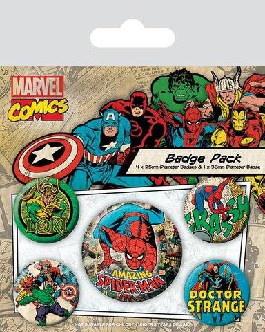 Набор значков «Marvel ретро (Человек-Паук)»