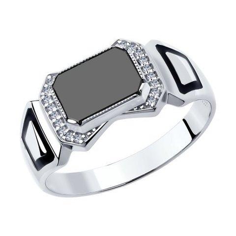 94011392 - Печатка из серебра с эмалью и ониксом и фианитами