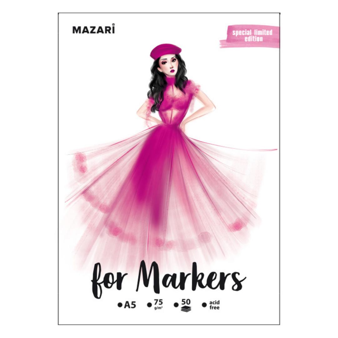 Скетчбук бумага для рисования спиртовыми маркерами Mazari