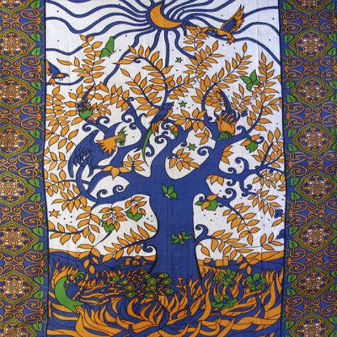 Покрывало Птицы на дереве 135 х 210 см хлопок Индия