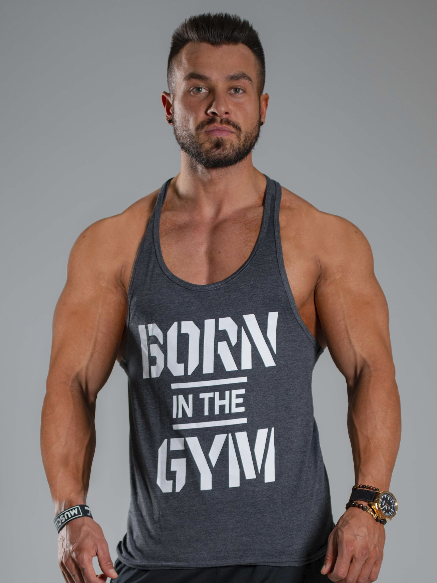 Мужская майка Olimp BORN IN THE GYM GRAPHITE