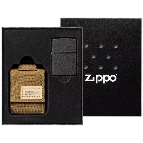 Набор Zippo: чёрная зажигалка Black Crackle и коричневый нейлоновый чехол, в подарочной коробке