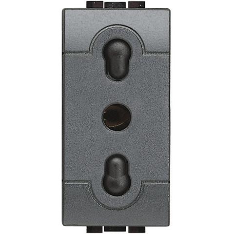 Розетка 2К+З, 10/16 А 250 В~ – расстояние между центрами отверстий 19 и 26 мм – с экранированными контактами, итальянский стандарт, 1 модуль. Цвет Антрацит. Bticino Livinglight. L4180