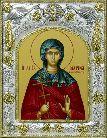 Серебряная икона именная Марина 18x14см