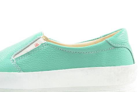 Слипоны на толстой подошве кожаные Лель (LEL) для девочек, цвет мятный. Изображение 12 из 14.