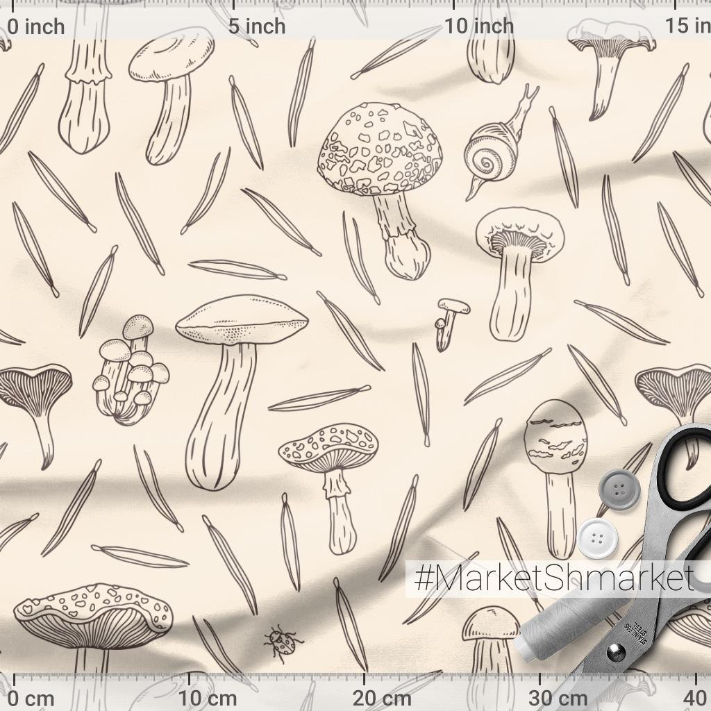 Графика с грибами и сосновыми иголками на бежевом фоне