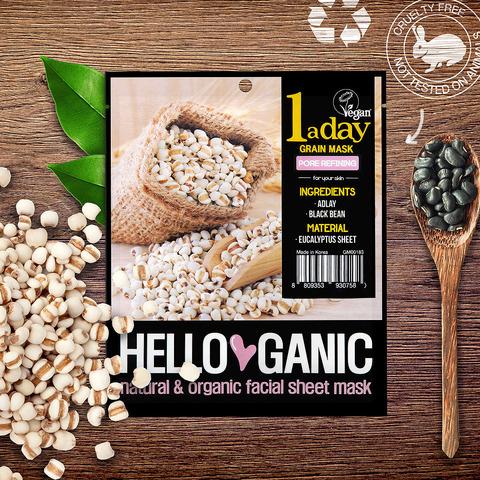 HelloGanic Противовоспалительная детокс-маска с экстрактами злаков Адлая и Черной фасоли /  One a day Grain mask