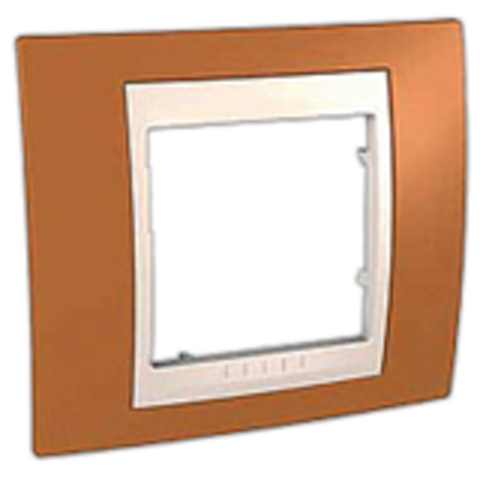 Рамка на 1 пост. Цвет Оранжевый/Белый. Schneider electric Unica Хамелеон. MGU6.002.869