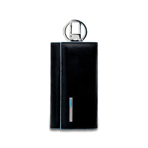 Ключница Piquadro Blue Square, черная, 6х12х2 см