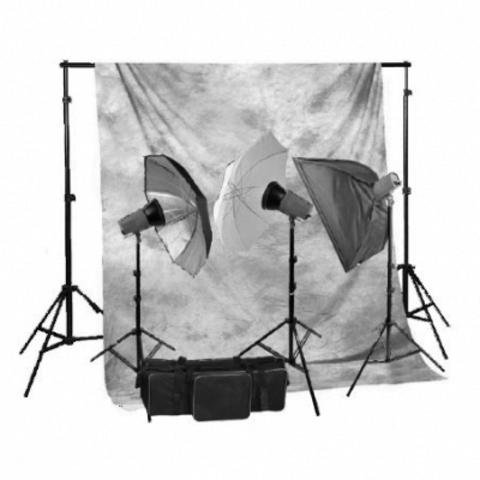 Комплект импульсного света Fancier FAN001 BW 3 вспышки x 200Дж, зонты, софтбокс, держатель фона и фон