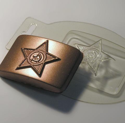 Пластиковая форма для шоколада муж. БЛЯХА БОЛЬШАЯ серп и молот 65х85мм