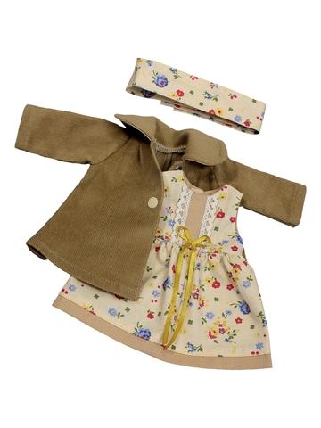 Пальто и платье - Бежевый. Одежда для кукол, пупсов и мягких игрушек.