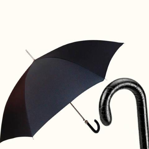 черный мужской зонт с кожаной ручкой панцирное тиснение