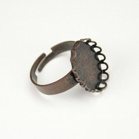Основа для кольца с сеттингом с ажурным краем для кабошона 18х13 мм (цвет - античная медь)