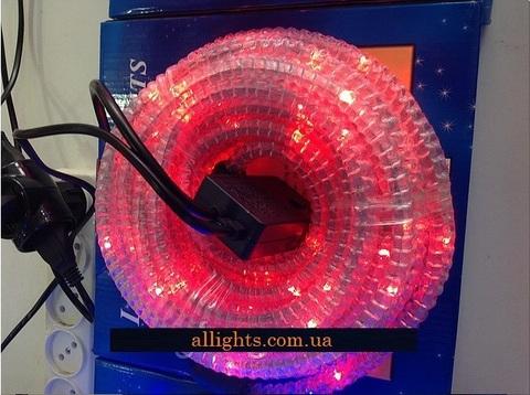 Гофророванная гирлянда дюралайт 10 метров красный светодиодный лед LED