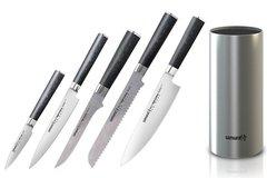 Набор из 5 кухонных ножей Samura Mo-V и металлической подставки