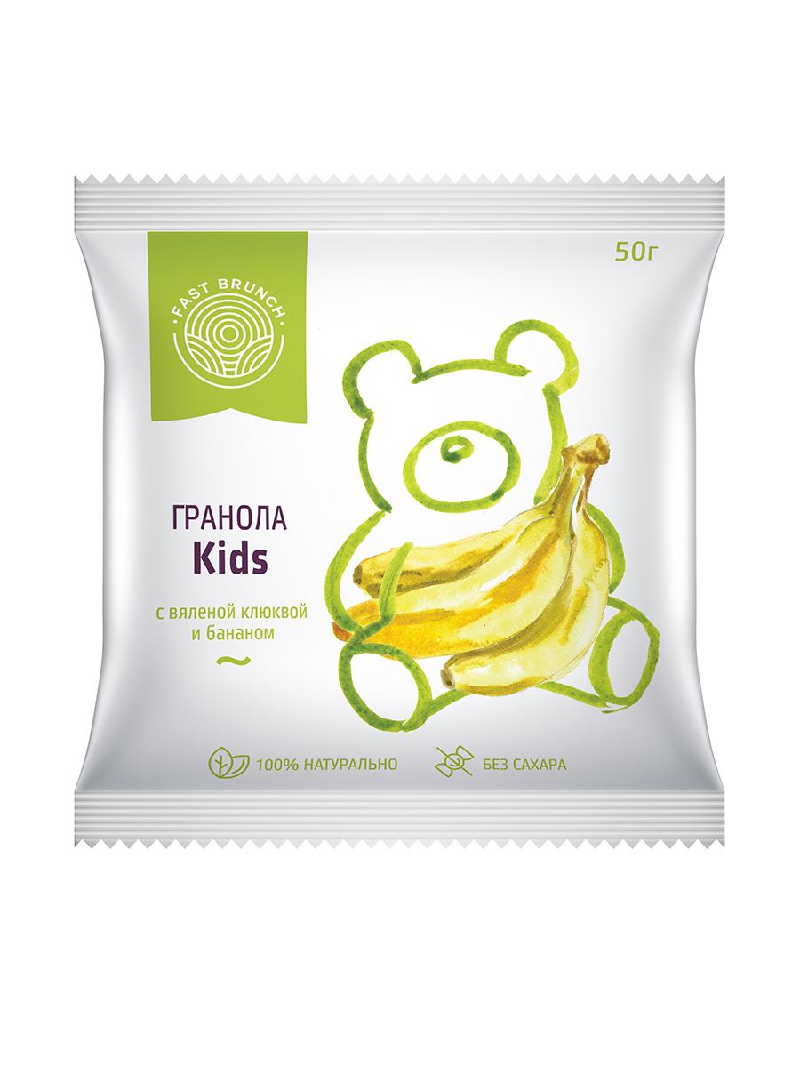 Гранола с вяленой клюквой и бананом - Kids