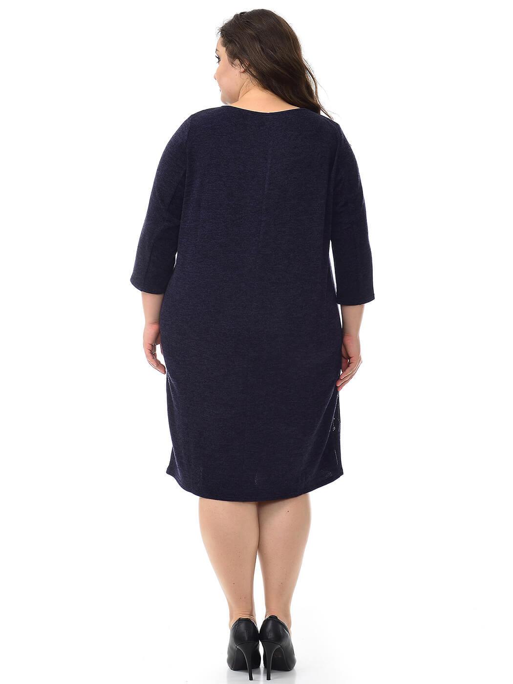Платье с рельефами Ангора тёмно-синее