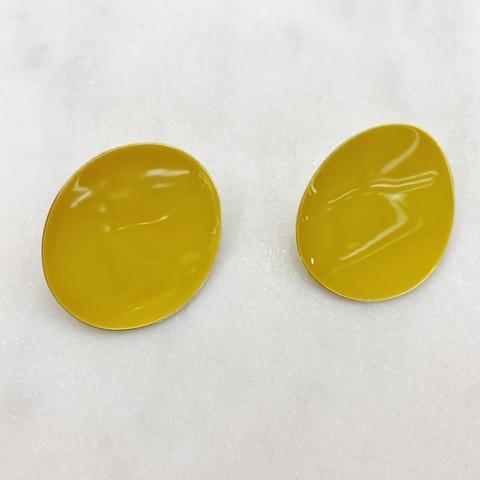 Серьги Овалы эмаль ш925 (желтый)