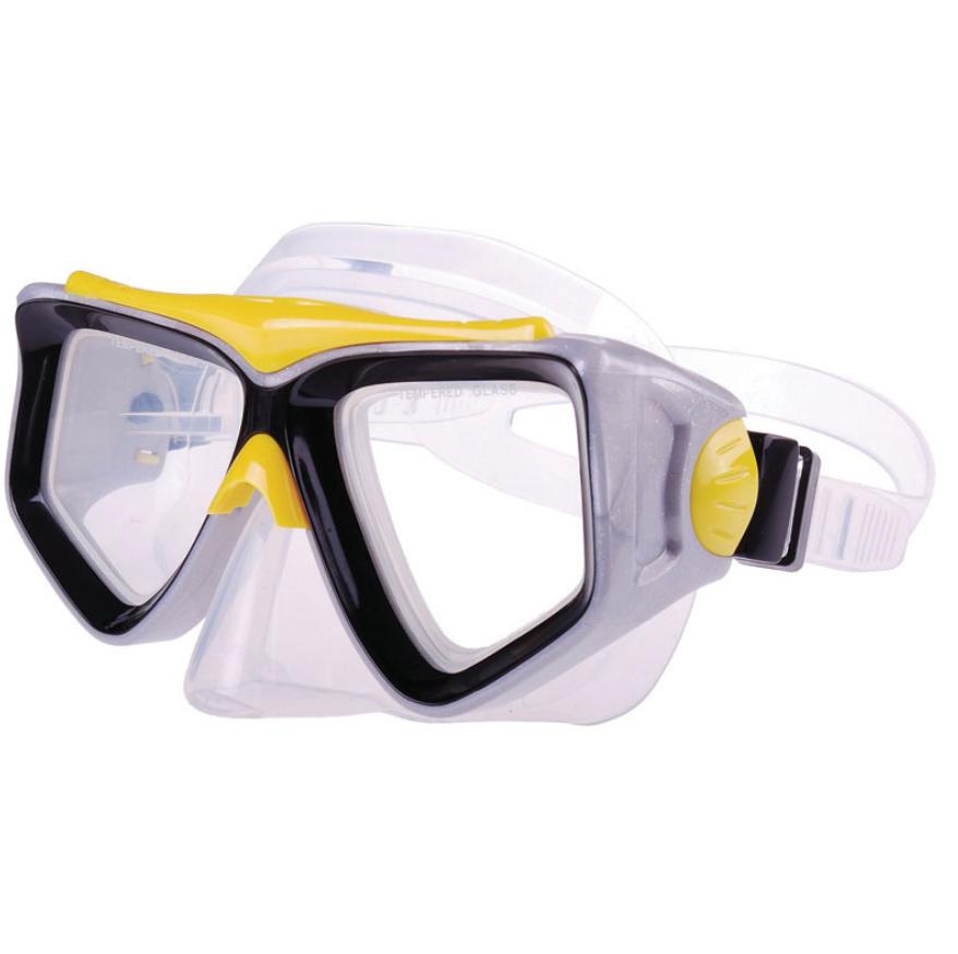 PVC Mask w/ tempered glass, yellow-black
