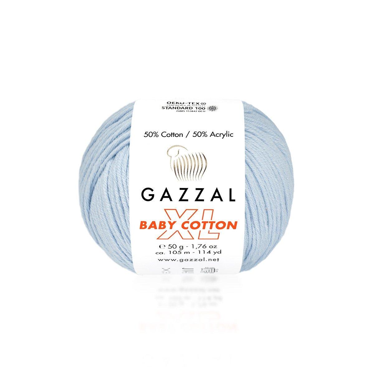 Пряжа Gazzal Baby Cotton XL 3429 нежно-голубой